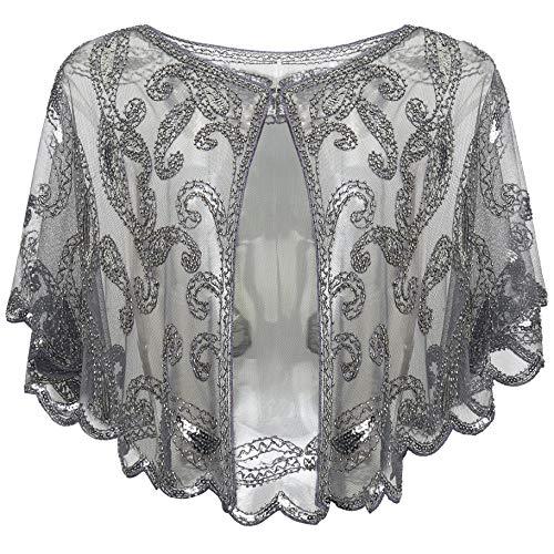 ArtiDeco 1920er Jahre Retro Schal Umschlagtücher für Abendkleider Braut Schal für Hochzeit Party Gatsby Kostüm Accessoires - Chiffon Spitze Kostüm