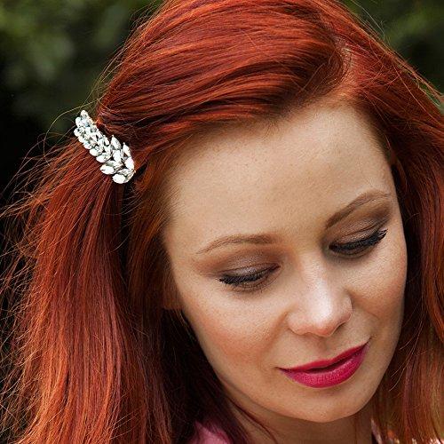 QueenMee Haarspange, Vintage-Stil, mit Strass, Blattdesign