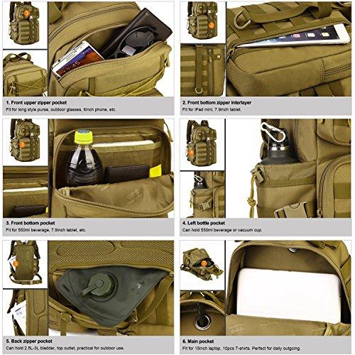 SUNVP 30L Tactical Military MOLLE Assault Rucksack Pack Große Tasche Rucksack Sport Outdoor Gear für Jagd Radfahren Camping mit Hydration Blase Tasche Black