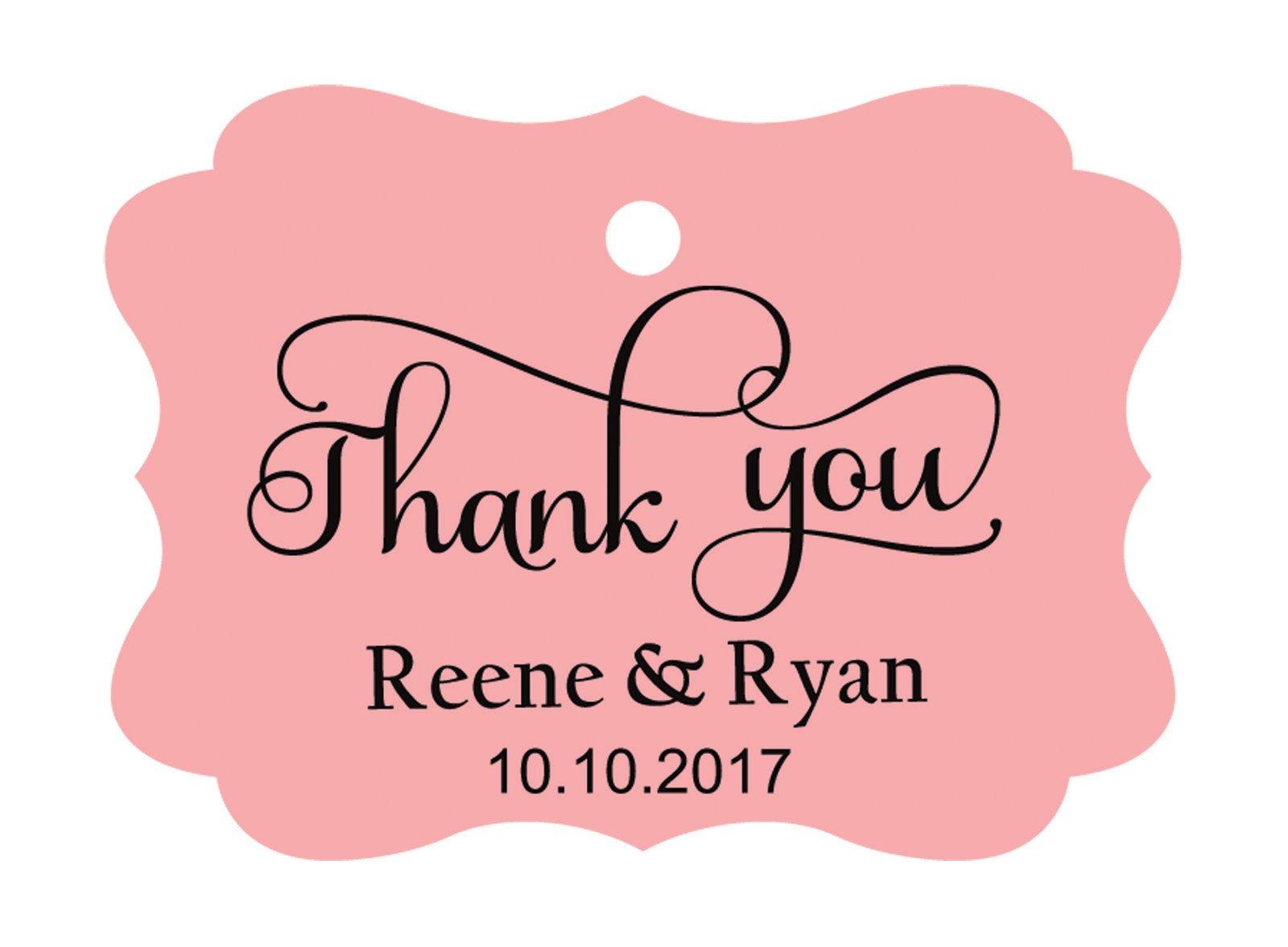 100pcs Thank You custom made cartellini personalizzato matrimonio carta regalo Tag Pink