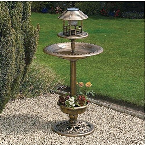 Ornamental Garden Bird Feeder Bath Hotel Bronze Table Station With Solar Light / Yard Garden Landscaping Landscape Home House Patio Backyard Design Gadgets Stuff Birthday Gift Botany Plant Gardening Vegetable Container Flower Planning Front Maintenance Co
