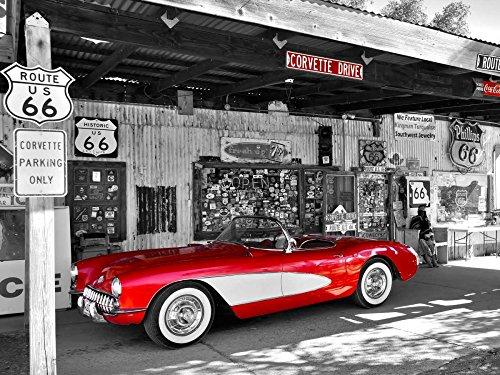 Feeling at Home LEINWANDDRUCKE-Bild-MIT-Rahmen.cm_58_X_77-Ratsenskiy-Vadim-Transport-Kunstdruck-auf-Gerahmte-Leinwand-Red-Corvette
