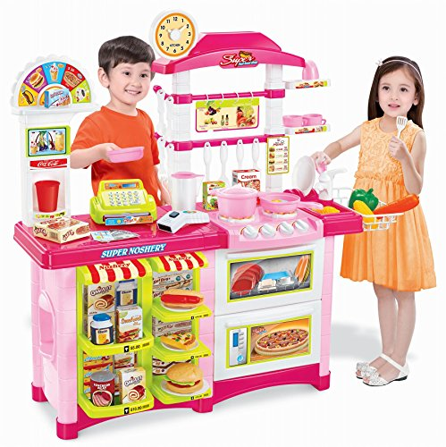 Vinsani 38 Pcs Children Kids Electronic Lights & Sounds Pretend Play Kitchen Cooking Set Pink
