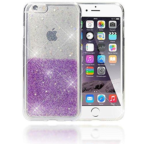 Apple iPhone 6 6S Coque Protection Silicone de NICA, Ultra-Fine Glitter Star Housse Slim Case Paillettes Cover Etui Rigide Anti-choc Strass Bumper Mince pour Smartphone iP-6, Couleur:Argent Pink Argent Lilas