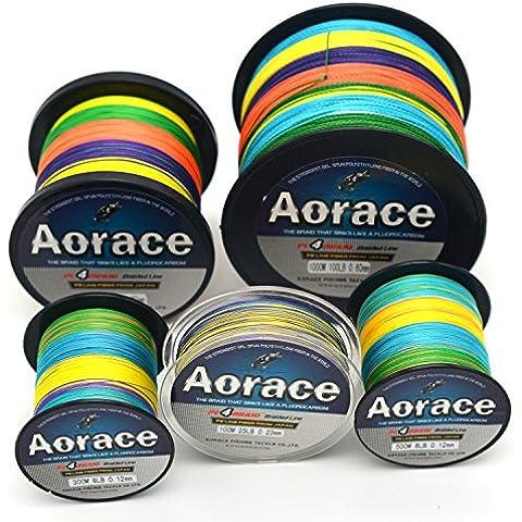 Aorace treccia Lenza 15lb forte e resistente all'abrasione 500M materiale in fibra di linea di pesca multicolore avanzata Superline - Bobine 20 Pound