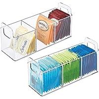 mDesign boite de rangement avec poignées (lot de 2) – panier de rangement pratique avec 3 compartiments pour cuisine ou…
