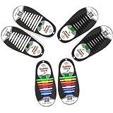 3 set No Tie Lacci per scarpe per bambini e adulti,Impermeabile in silicone elastico piatto Laces,48 pezzi Colori arcobaleno