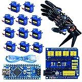 Arduino Robotic Hand Project Kit, Mano del Robot Arduino Robotic Kit, With Programmable Sample Project Codes, Arduino Nano Control Board, 11x SG90 Servo, Nano Protoshield
