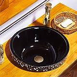 AOSHE Waschbecken Des Badezimmers Ovale Eingebettete Waschbecken Chinesische Kunststation 1350 Grad-Hochtemperatur-Brennen Keramisches Bassin 42 * 16Cm