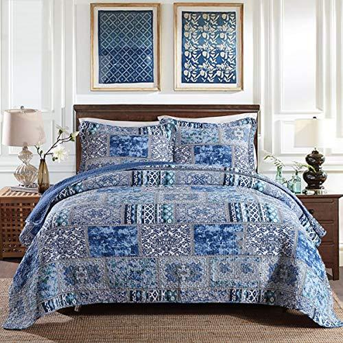 WDXN Blau Tagesdecke BettüBerwurf Gesteppt 230x250cm SofaüBerwurf,BettbezugbettwäSche Aus Patchwork-Baumwolle In Doppelter GrößE Mit 2 KissenbezüGen,Blue,230 * 250cm -