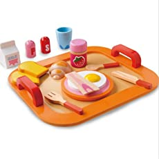 Akrobo 17 Pieces Colorful Wooden Play Food Set