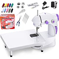 Classipro Sewing Machine for Home Tailoring with Table, Foot Pedal, Adapter and Sewing Kit,White (with Extra Needles)