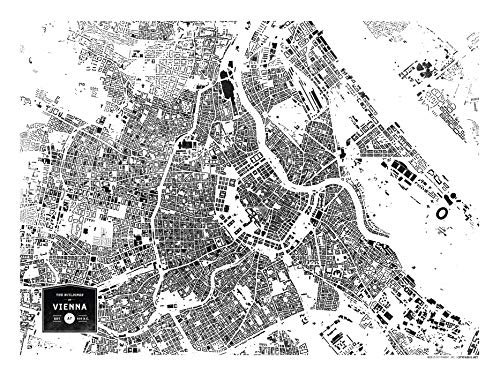 CityFabric Druck Gebäude Wien, Österreich, Moderne Nachbarschaftskarte, Wandbild für Schlafzimmer, Wohnzimmer, Küche und mehr 18x24 weiß