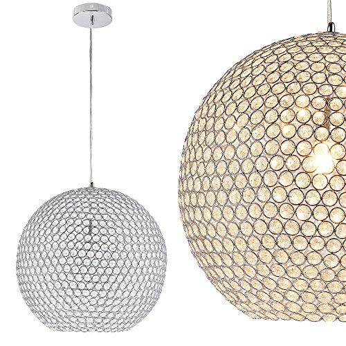 Kugel-Lüster Deckenleuchte / Deckenlampe - Crystal - von [lux.pro]® - Modernes Design: Kron-leuchter aus Aluminium & Kunst-Kristall - Ø 40 cm mit 1 x E14 Sockel - für Wohnzimmer & Schlafzimmer