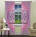 Exklusive indische Ombre-Mandala-Tapisserie, rosa, groß, Wandbehang, Hippie-Fenstervorhang, Volants, Raumteiler, 2-teiliges Panel-Set, aus Baumwolle, Fenster- und Wanddekoration
