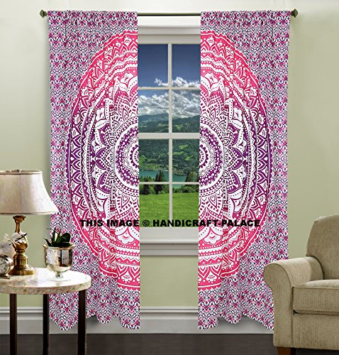 mandala large tapestry to hang on the wall hippie curtain valances bulkhead window 2 PC set, cotton window wall decoration