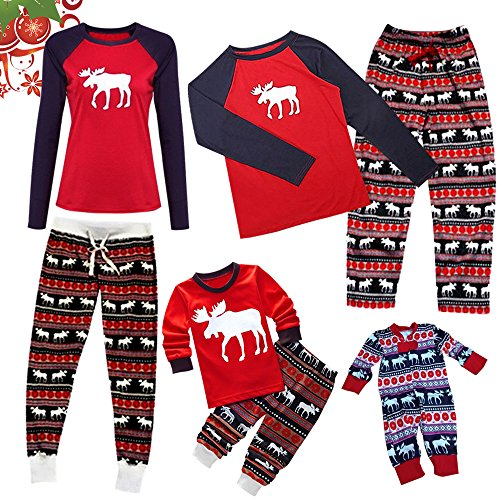 - 61xUUc8Rd9L - wocharm 2Pcs Christmas Outfits Stripes Family Matching Pajamas Set Xmas Long Sleeve Pants