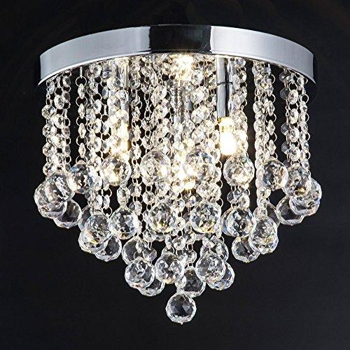 Zeefo plafoniera in cristallo, moderno lampadario a sfera in cristallo luce, 3 lampadine, lampadario di cristallo 30 cm di diametro lampadario di cristallo per corridoio, camera da letto, soggiorno, cucina, sala da pranzo (argento)