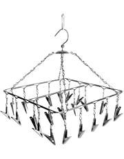 SYNERGY - 25 Clips Stainless Steel Square Cloth Dryer/Clothes Drying Stand/Hanger with Clips (Clothes Peg)