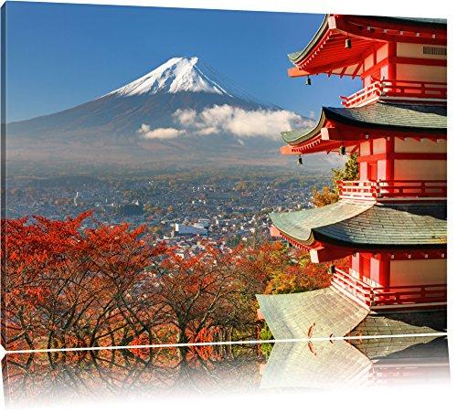 Tempel am Fudschijama Japan Format: 120x80 auf Leinwand, XXL riesige Bilder fertig gerahmt mit Keilrahmen, Kunstdruck auf Wandbild mit Rahmen, günstiger als Gemälde oder Ölbild, kein Poster oder Plakat