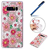 Cover Galaxy Note 8,Custodia Samsung Galaxy Note 8, Ysimee Divertente design copertina del fumetto Coperchio del paraurti antiurto Antigraffio Custodia posteriore Custodia morbida in TPU trasparente Cover in silicone per Samsung Galaxy Note 8 -fiore