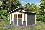Karibu Gartenhaus GRAUBURG 7 terragrau Gerätehaus 302x306cm 19mm