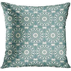 CHSUNHEY Fodera per Cuscino Decorativo Throw Pillowcase Arabesque Japanese Pattern Arabic Indian Motifs Mandala Ethnic Bohemian And Abstract Flower Asian Aztec 18 x 18In,Eco-Friendly Print