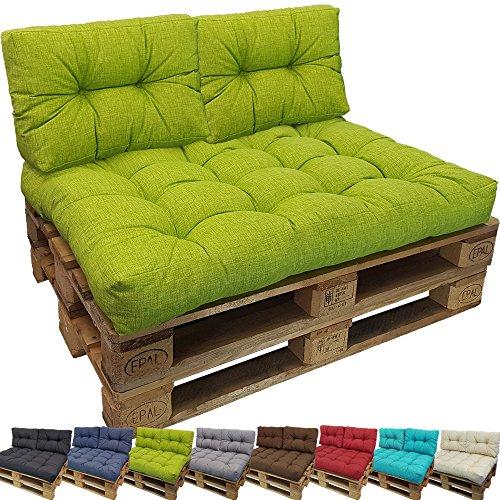 proheim Outdoor Palettenkissen Lounge Palettensofa Indoor / Outdoor schmutz- und wasserabweisende Palettenauflage Palettenpolster für Europaletten, Farbe:Apfelgrün, Variante:Kurzes Rückenkissen