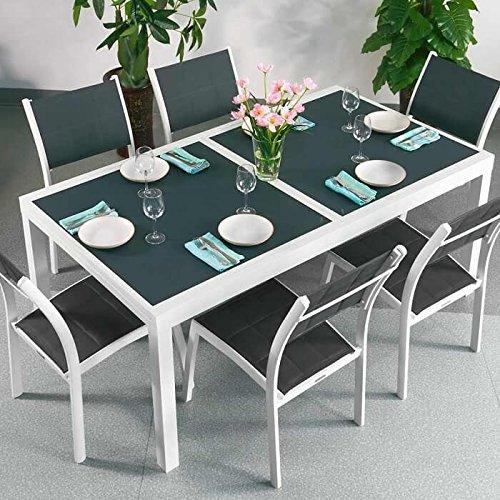Table Florence et 6 chaises Lea - BLANC & GRIS | Table extensible 240cm pour l'intérieur et l'extérieur