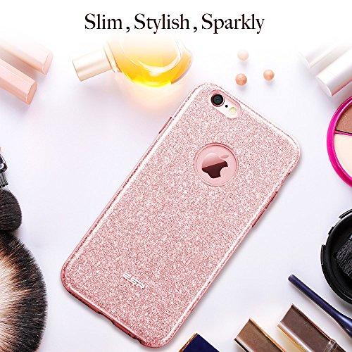Coque iPhone 6s Plus Rose, ESR iPhone 6 Plus / 6 s Plus Coque Paillette Strass Brillante Bling Bling Glitter de Luxe, Housse Etui de Protection Silicone [Ultra Fine] [Anti Choc] pour Apple iPhone 6 Pl Or Rose