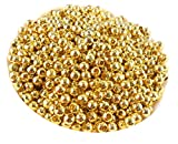 #2: Jaz Golden Finish Round Metallic Beads for Jewellery Making (Size-5 mm Hole Size-2mm) - Pack of 100 Pieces