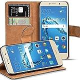 Verco Y7 Hülle, Handyhülle für Huawei Y7 Tasche PU Leder Flip Case Brieftasche - Schwarz