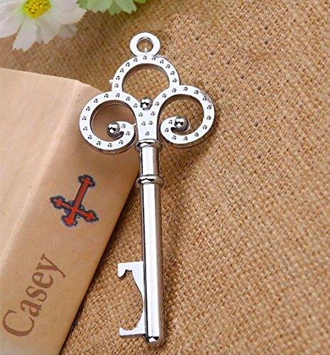 Awtlife 50pz rustico vintage chiave apribottiglie con carta tag e velato borsa per bomboniere matrimonio - 2