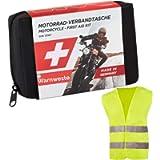GoLab Set di primo soccorso per moto, piccolo e compatto, con giubbotto di sicurezza per tutti i paesi europei (Austria…