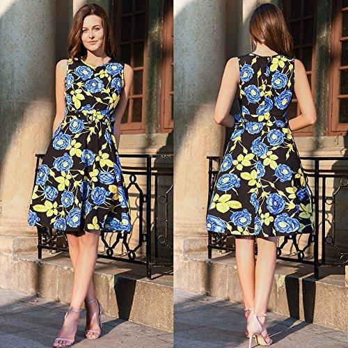 RUIYIGE Damen Kleid Gold Leaves Rose-Blue