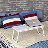 "Portable Laptop Desk Coavas Notebook Stand Wooden Table Top Mixed with Sturdy Metal legs Bed Notebook Desk Laptop Suitable for 14-17"" Notebook"