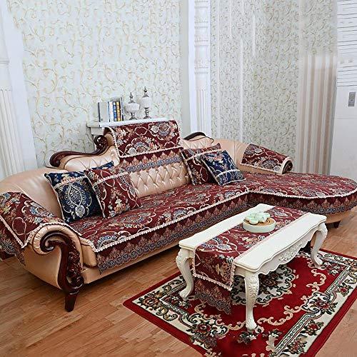 AjAsh7 Sofa Überwürfe,Baumwolle Sofabezug,Rock Big Lace rutschfeste Gummiteile 4 Seasons Universal rutschfest Europäische Klassik Für Wohnzimmer, Schlafzimmer (1/2/3/4 Sitzer) -