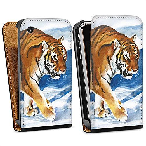 Apple iPhone 5s Housse Étui Protection Coque Neige Art Sac Downflip noir