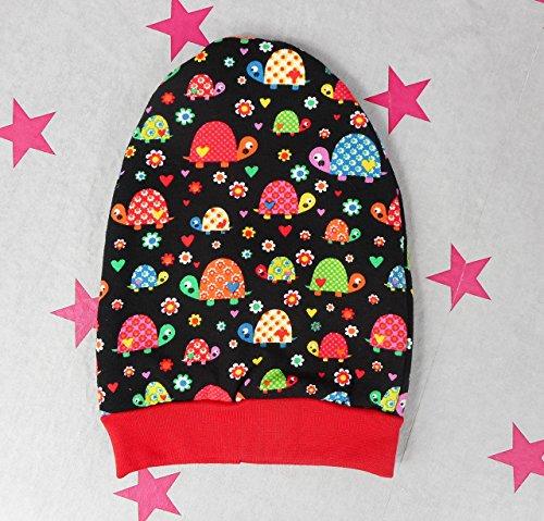 pinkeSterne ☆ Beanie KU 34-36 Mütze Kopfbedeckung Jersey Handmade Gefüttert Schildkröten / XE-2I2N-6XKQ