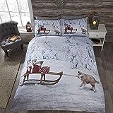 Weihnachtliches Bettwäsche-Set - Baumwoll-Polyester-Mischung - UK-Doppelbett - Huskys