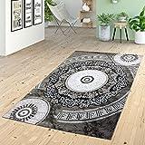 Teppich Kurzflor Ornamente Kreise Versace Design Muster Grau Schwarz, Größe:60x110 cm