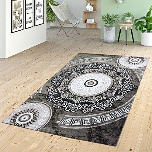 T&T Design Alfombra De Pelo Corto con Ornamentos Círculos Diseño Versace En Gris Negro, Größe:60x110 cm