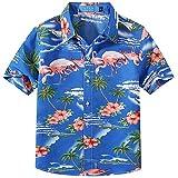 SSLR Jungen Hemd Kurzarm Hawaiihemd mit Flamingos Baumwolle Freizeithemd Aloha Shirt (X-Large (13-16Jahren), Saphirblau)