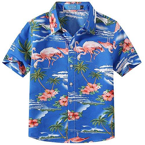 SSLR Jungen Hemd Kurzarm Hawaiihemd mit Flamingos Baumwolle Freizeithemd Aloha Shirt (Medium (9-11Jahren), Saphirblau)