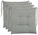 Brandsseller Sitzkissen Stuhlkissen kariert Kissen Sitzpolster Garten Auflage - 4er Vorteilspaket - 40 x 40 cm - Grün