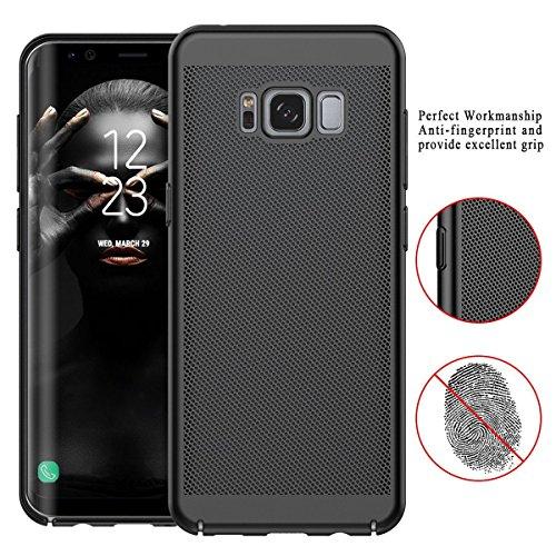 Custodia Samsung Galaxy S8, Qissy® Respiratorio, PC Hard, Ultra-sottile Anti-Scratch Senso originale per la copertura per Samsung Galaxy S8 Plus Black