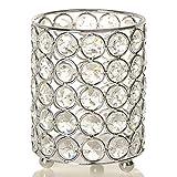 VINCIGANT Silberner Zylinder Kristall Teelicht Kerze/Stift/Make-up Pinsel Inhaber für Hochzeitstag Geschenke Bürotisch Dekoration, LED Kupferdraht String Light enthalten