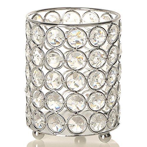 VINCIGANT Kristall Kerzenhalter Silber Kerzenständer Vintage Zylinder Teelicht Kerze Inhaber für Hochzeitstag Geschenke Bürotisch Dekoration, LED Kupferdraht String Light enthalten Kristall-kerze