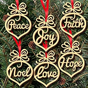 6Pcs Christmas Decorations Wooden Ornament Xmas Tree Hanging Tags By Cinnamou