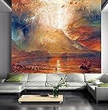 HUANGYAHUI carta da parati Vulcano Europeo Eruzioni Paesaggio Stoffe Non Tessute Sfondo Tv Murale Sfondi Sfondo Living Room Bedroom Dipinti Murali